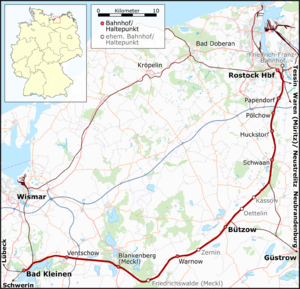Bad Kleinen–Rostock railway - Route of the Bad Kleinen–Rostock line