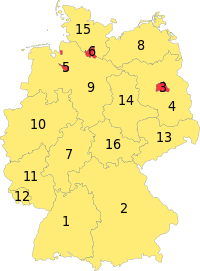 the 16 Bundesländer (states) of Germany