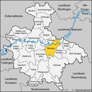 Mengen, Germany - Image: Karte Mengen
