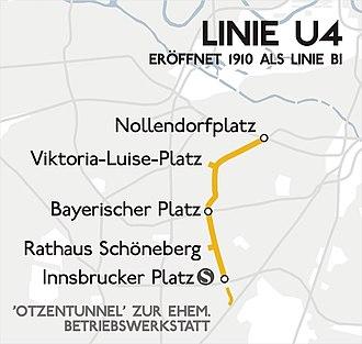 U4 (Berlin U-Bahn) - Image: Karte berlin u u 4