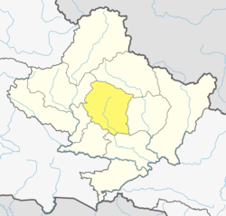 Location of Kaski (dark yellow) in Gandaki Pradesh