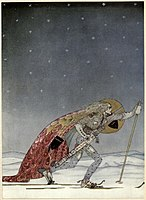 Kay Nielsen - East of the sun and west of the moon - the three princesses of whiteland - so the man gae him a pair of snow-shoes.jpg