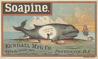 Soap - Ad for Soapine, circa 1900, indicating that it is made of whale oil