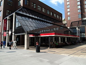 Kendall/MIT (MBTA station) - The main outbound headhouse is adjacent to the MIT Coop
