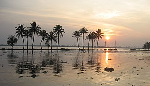 Sunset in Kerala Backwaters, India