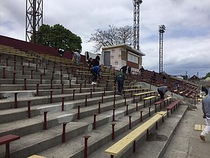 Detroit City FC - Volunteers work on refurbishing the west grandstand at Keyworth Stadium prior to the 2016 season.