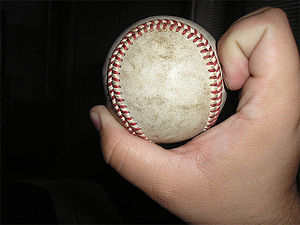 Side view of a knuckleball grip.