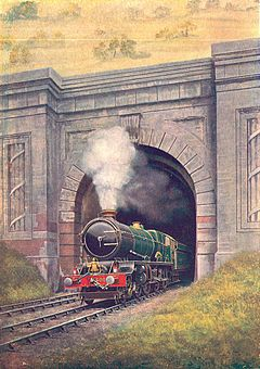King George V exiting Box tunnel (CJ Allen, Steel Highway, 1928)