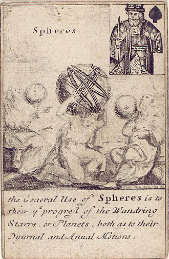 Sphere - Deck of playing cards illustrating engineering instruments, England, 1702. King of spades: Spheres