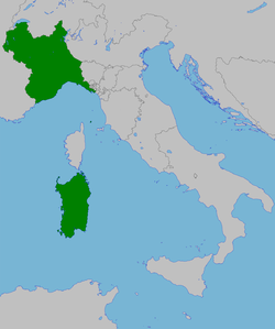 Kingdom of Sardinia, in 1815: the Mainland states (Piedmont, Savoy, Nice) and Sardinia.