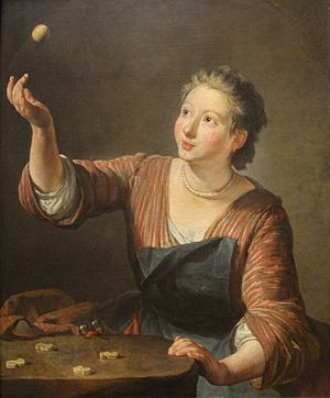 Knucklebones - A 1734 Jean-Baptiste-Siméon Chardin painting depicting a girl playing knucklebones