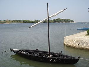 Nin, Croatia - A replica of Condura Croatica – Croatian boat from the 10th century in the Nin lagoon.