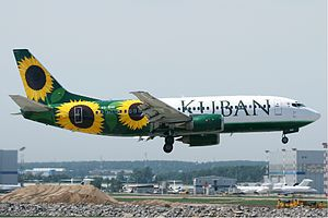 Kuban Airlines - A Kuban Airlines Boeing 737-300 landing at Vnukovo International Airport, Russia. (2011)