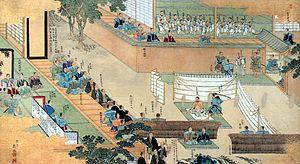 Ōishi Yoshio - Painting of Ōishi Yoshio committing seppuku.