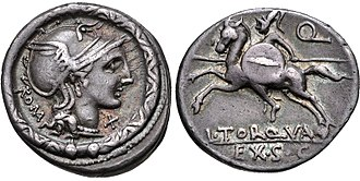 Manlia (gens) - Denarius of Lucius Manlius Torquatus, 113–112 BC.  The obverse depicts the head of Roma within a torque, the emblem of the Manlii Torquati.  The reverse depicts a warrior charging into battle on horseback, beneath the letter 'Q', signifying Torquatus' quaestorship.