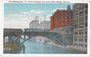 Metropolitan West Side Elevated Railroad - A train on the Metropolitan main line passes over the Chicago river