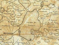 Plano del lago de Texcoco, en el que es posible apreciar el efecto de desecación sobre el lago