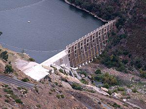 Lake Hodges - Aerial view of Lake Hodges Dam