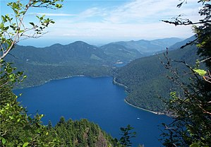 Lake Crescent - View of the ancient landslide that dammed Lake Crescent