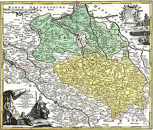 Lower Lusatia - Lower (green) and Upper Lusatia (yellow), Johann Homann, early 18th century