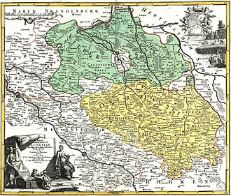 Lower Lusatia - Lower (green) and Upper Lusatia (yellow), Johann Homann, early 18th century
