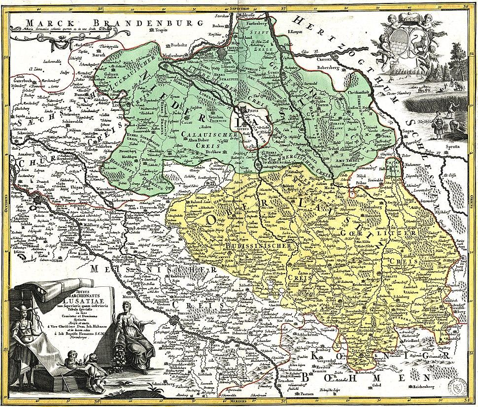 Karte der Nieder- und Oberlausitz