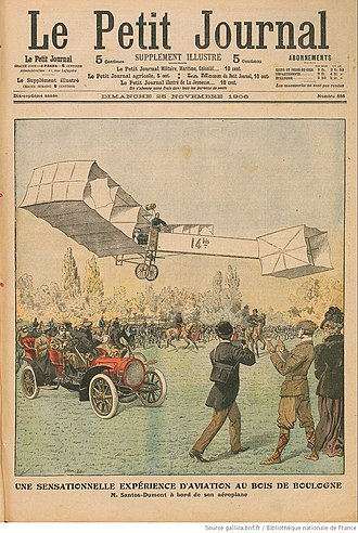 Aviation in the pioneer era - Illustration of Santos-Dumont's 12 November 1906 flight on the cover of Le Petit Journal