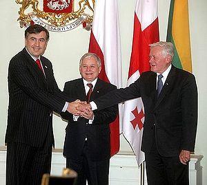 Valdas Adamkus - Mikheil Saakashvili, Lech Kaczyński and Valdas Adamkus in Tbilisi, November 2007
