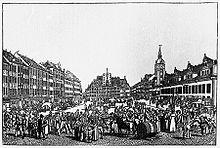 Der Leipziger Marktplatz zur Messezeit, Kupferstich um 1800 (Quelle: Wikimedia)