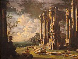 Leonardo Coccorante - 'Harbor Scene with Roman Ruins'
