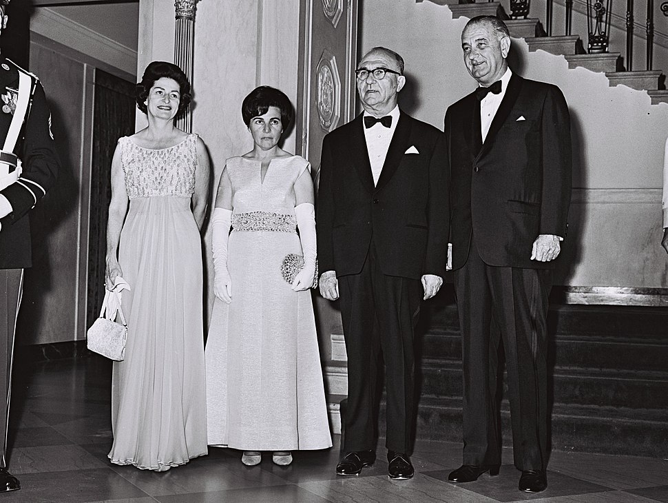 Levi and Miriam Eshkol with President Johnson and wife 1964