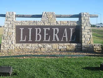 Liberal, Kansas - Welcome sign on U.S. Route 83 (2010)