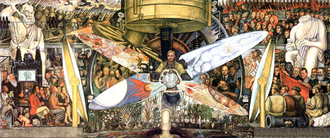 Man at the Crossroads - The recreated version of the painting, known as Man, Controller of the Universe