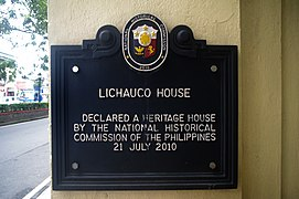 Lichauco Heritage House marker.jpg