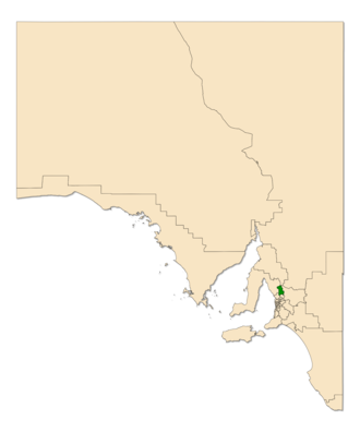 Electoral district of Light - Electoral district of Light (green) in South Australia