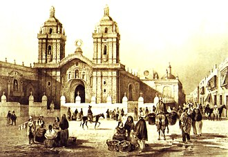 Peru - Lima in the early 19th century, near the Monastery of San Francisco