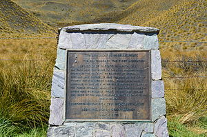 Hunting in New Zealand - A memorial on the Lindis Pass erected in 1971 commemorating the release of red deer in Otago in 1871.