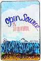"Linocut print of underwater with lettering of text ""Open Source is beautiful"".jpg"