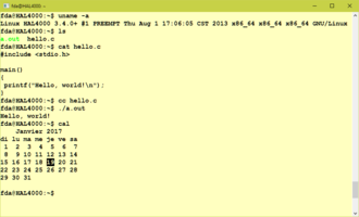 Cal (Unix) - Cal command as shown in a Linux Bash session in Windows 10