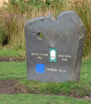 Offa's Dyke Path - A marker post on Offa's Dyke Path