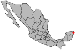 Location of Cancún