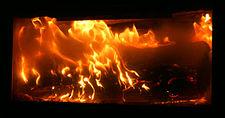 A log on fire