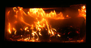 Deflagration - A log in a fireplace.