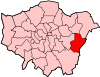Location of the London Borough of Bexley in Greater London