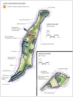 Moon Island (Massachusetts) - Long Island, together with Moon Island, showing island iconography.