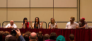Lost Girl - The cast in August 2011 at Fan Expo Canada. From left: Rick Howland, Ksenia Solo, Anna Silk, Zoie Palmer, Kris Holden-Ried, and K. C. Collins.
