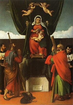 San Giacomo dell'Orio Altarpiece - Image: Lotto, Pala di San Giacomo dell'Orio 01
