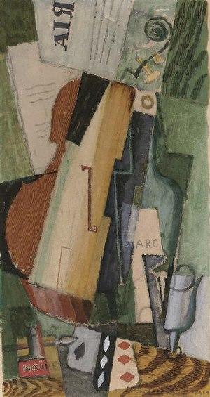 Louis Marcoussis - Image: Louis Marcoussis Violon bouteilles de Marc et cartes 1919