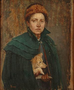 Louise Catherine Breslau - Self-portrait of Louise Catherine Breslau, holding a dog (1891).