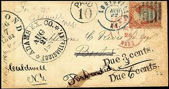 Adams Express Company - Image: Louisville Kentucky 1861 cover+3c